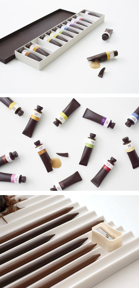 Chocolate paint tubes and pencils, Nendo Design