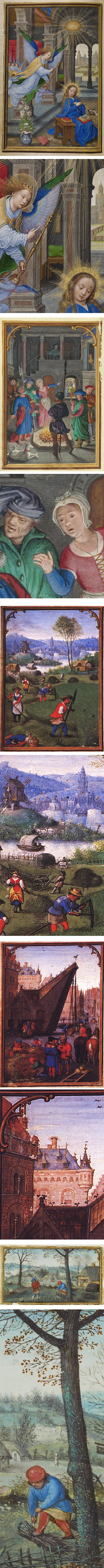 Simon Bening, illumination miniatures, book of hours, calendar, labors