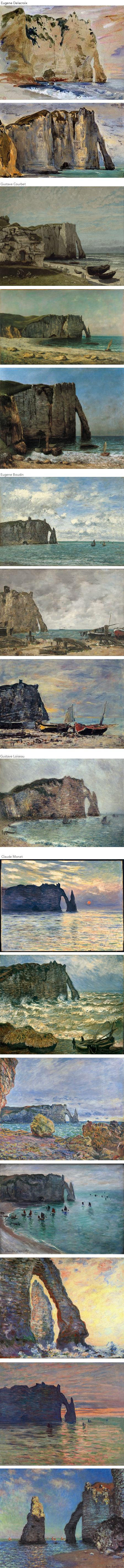 Cliffs of Etretat Eugene Delacroix, Gustave Courbet, Eugene Boudin, ustave Loiseau, Claude Monet