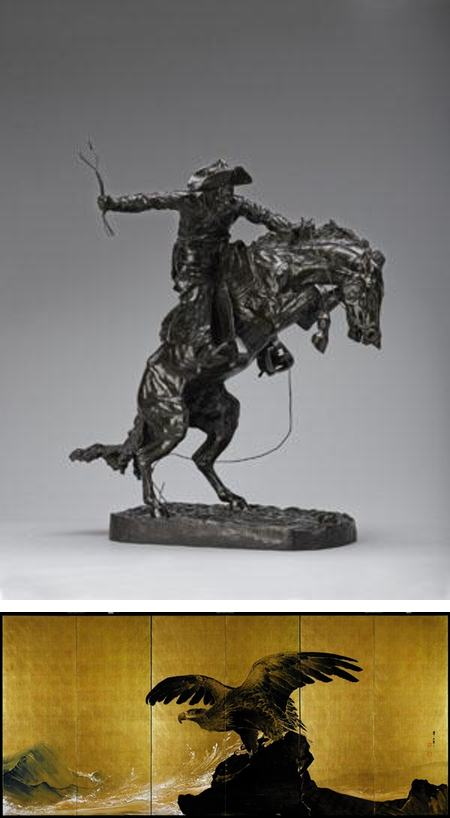Superbowl art bet , Denver Art Museum, Seattle Art Museum, The Bronco Buster, Frederick Remington, Sound of Waves, Tsuji Kako