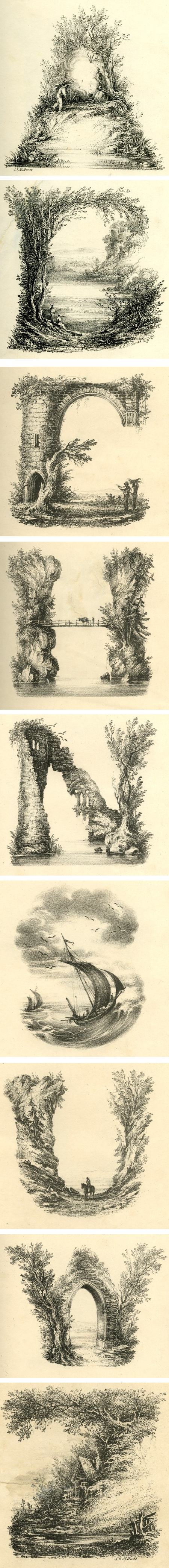 Landscape alphabet, L.E.M. Jones, printed by Charles Joseph Hullmandel