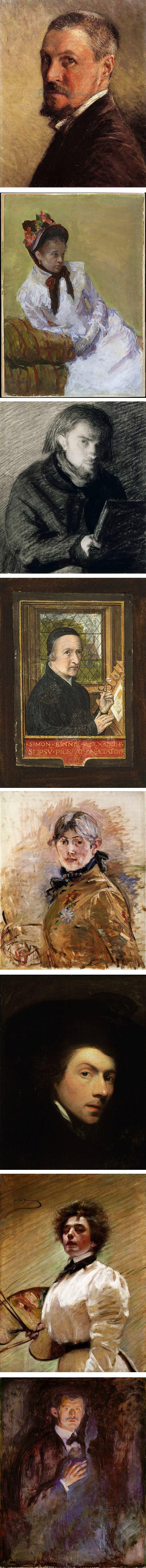 Sef-portraits: Gustave Caillebotte, Mary Cassatt, Henri Fantin-Latour, Simon Bening, Berthe Morisot, Gilbert Stuart, Alice Pike Barney, Edvard Munch