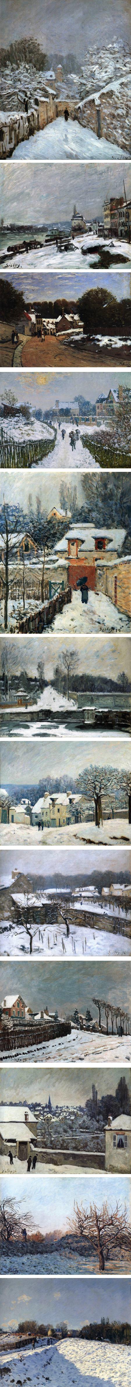 Alfred Sisley snow scenes