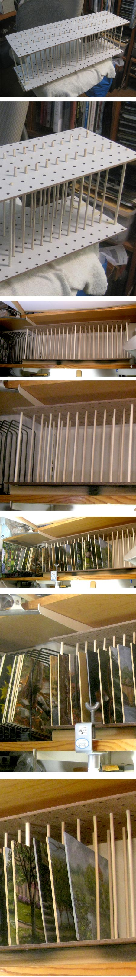 A simple DIY drying rack for plein air panels and small paintings