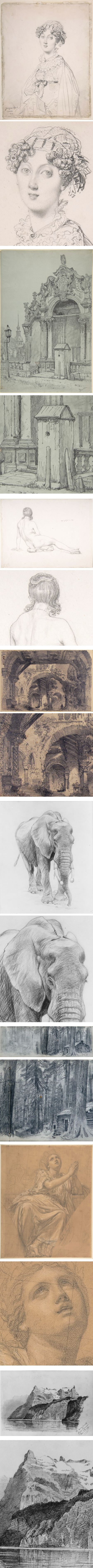 Graphite drawings from the Metropolitan Museum of Art: Jean Auguste Dominique Ingres, Samuel Prout, Samuel Amsler, Carlo Ferrario, Charles R. Knight, William Trost Richards,  Alexandre Denis Abel de Pujol, John Singer Sargent