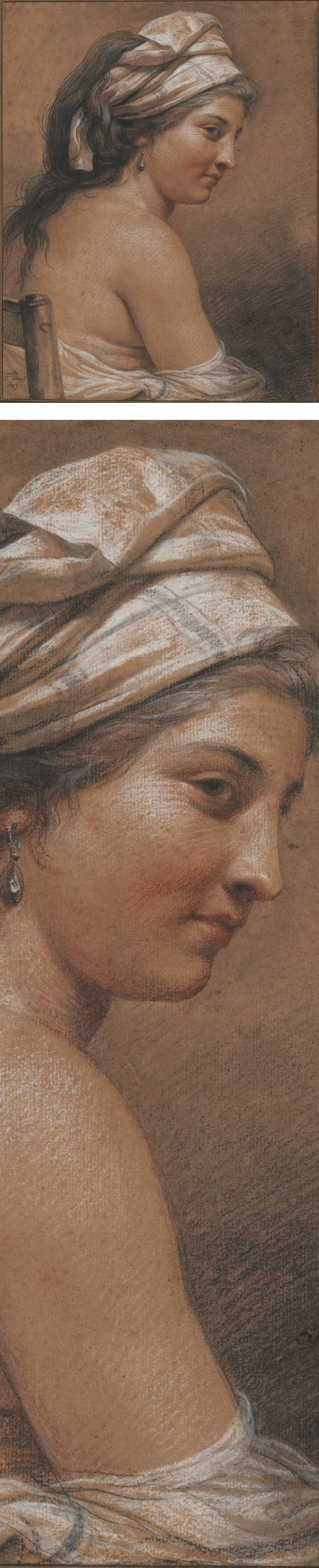 Adelaide Labille-Guiard, trois crayon chalk drawing