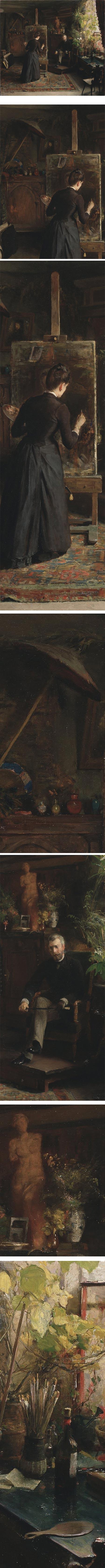 The Danish Artist Bertha Wegmann Painting a Portrait, Jeanna Bauck