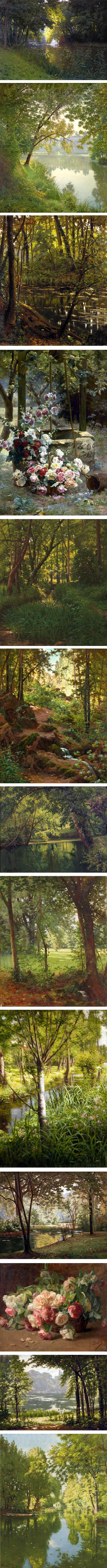 Henri Biva, 19th century french lanscapes and florals
