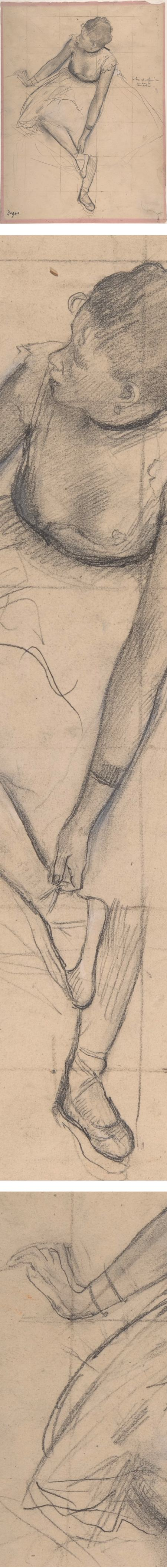 Dancer Adjusting her Slipper, Edgar Degas, pencil drawing