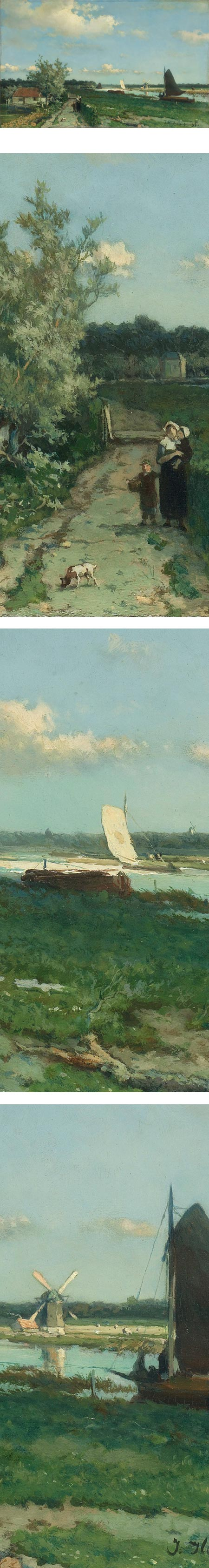 The Trekvliet Shipping Canal near Rijswijk, also known as the View near the Geest Bridge, Johan Hendrik Weissenbruch