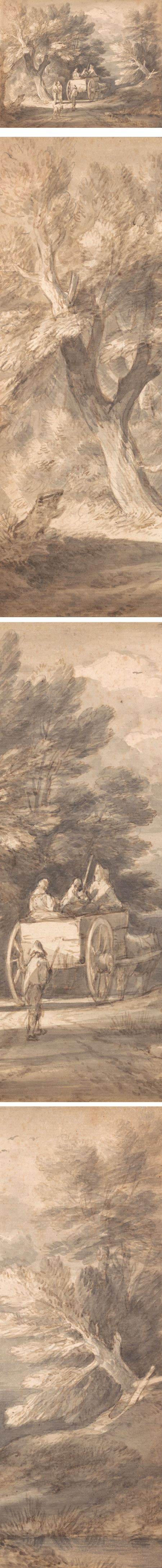 Wooded Landscape with Country Cart and Figures Walking down a Lane, Thomas Gainsborough ink and wash drawing