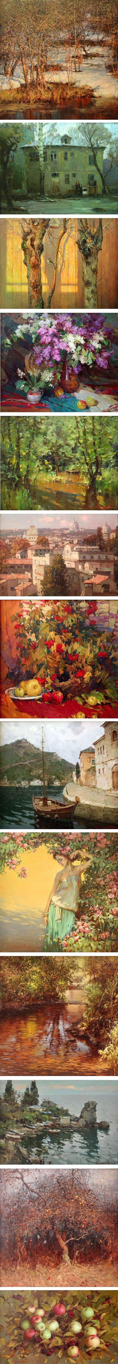 Valentin Korotkov, Russian painter, landscape, figures still life