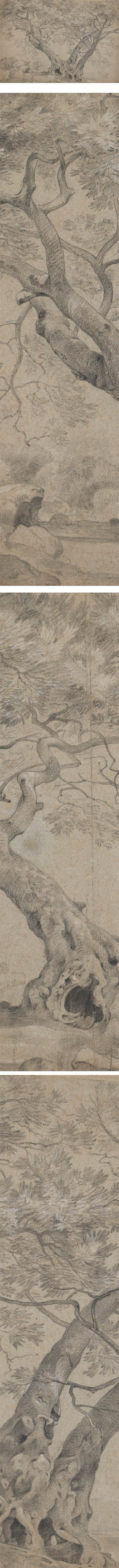 The Arbra Sacra on the Banks of Lake Nemi, Richard Wilson, black and white chalk drawing on laid paper