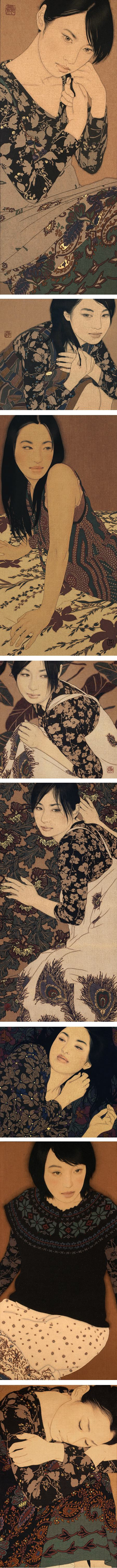 Ikenaga Yasunari, portraits of women in soot ink, mineral pigments, Menso brush