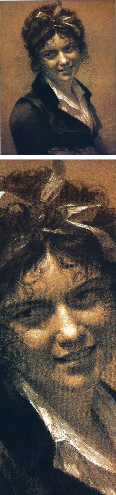 Portrait of Constance Mayer, Pierre-Paul Prud'hon, black and white chalk drawing on toned paper