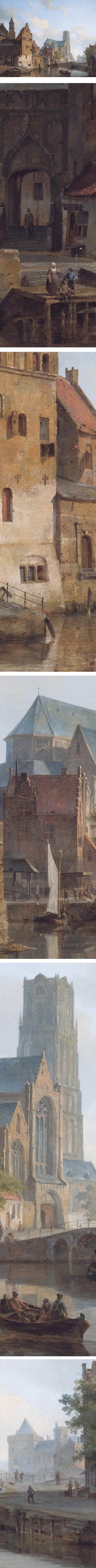 Delftse Vaart and the St Laurens church in Rotterdam,  Cornelis Springer, 19th century Dutch cityscape