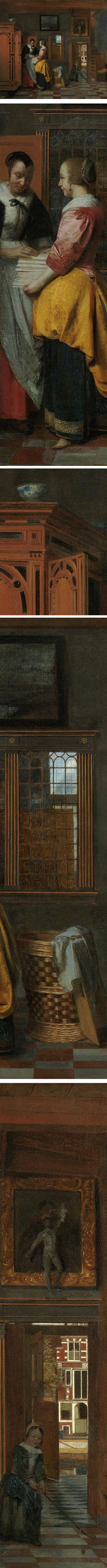 Interior with Women beside a Linen Cupboard, Pieter de Hooch, keyhole painting