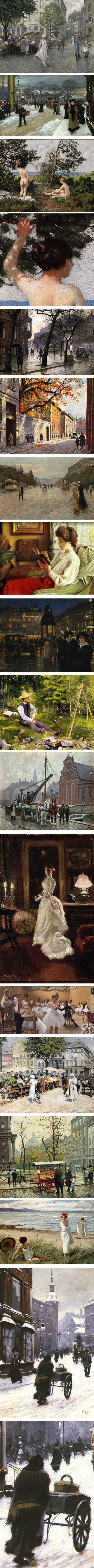 Danish painter Paul Gustav Fischer, urban scenes of Cpenhagen