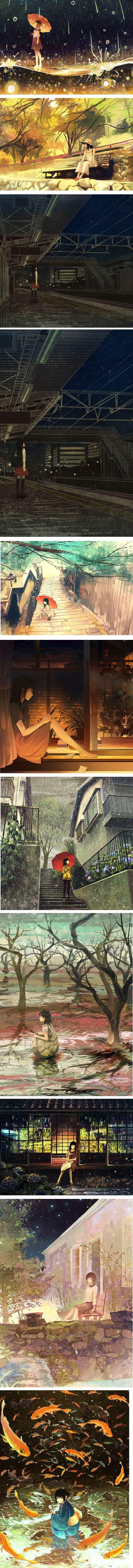 Japanese illustrator in watercolor