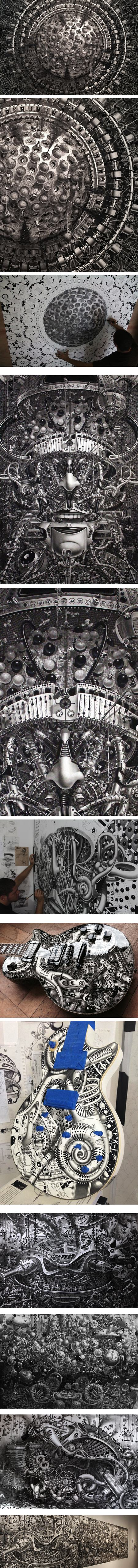 Samuel Gomez, large scale graphite and ink drawings