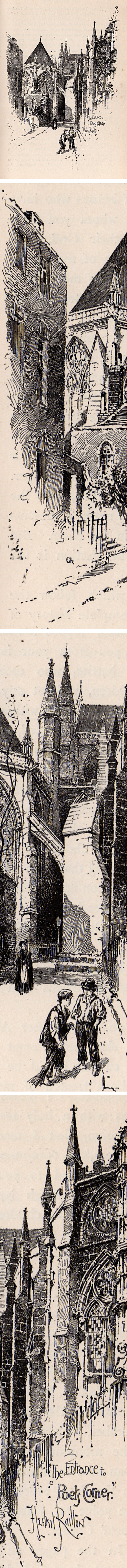 Herbert Railton pen and ink illustration: Entance to the Poets Corner, from A Brief Account of Westminster Abbey