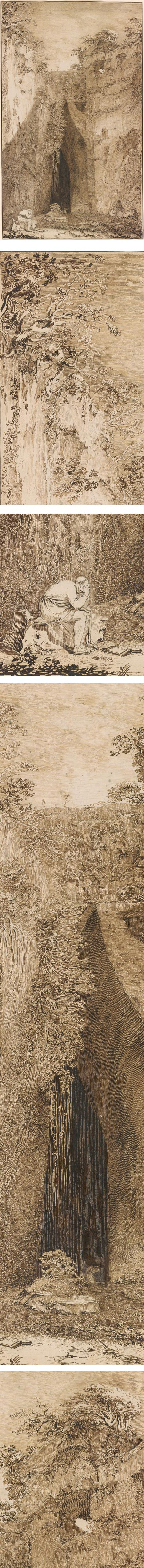 The Cave of Dionysius, Syracuse; John Brown, pen and brown ink