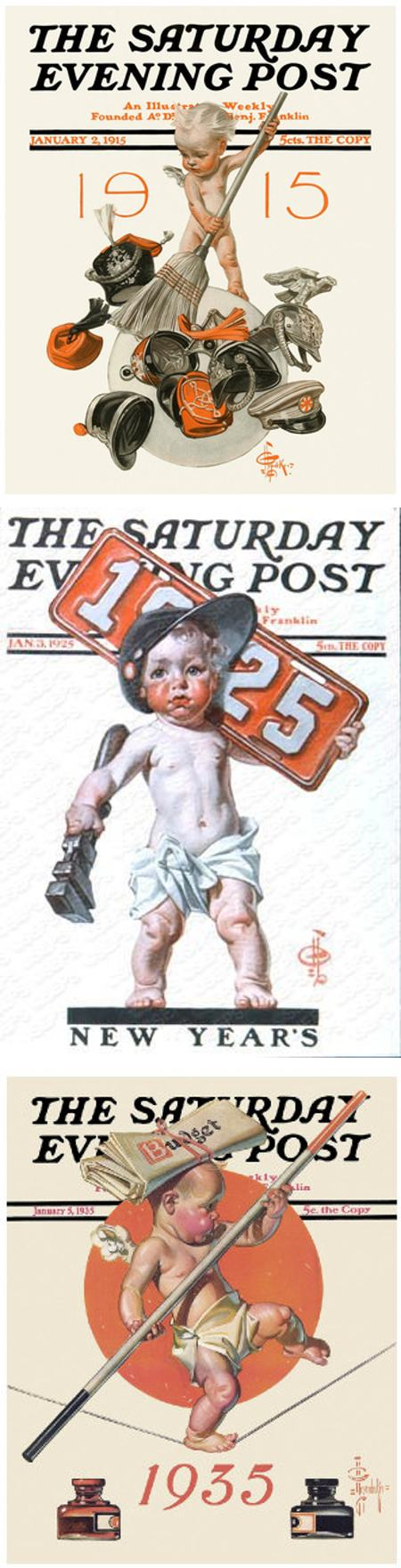 Happy Leyendecker Baby New Year 2015!,  J.C. Leyendecker New Year's babies from covers for The Saturday Evening Post