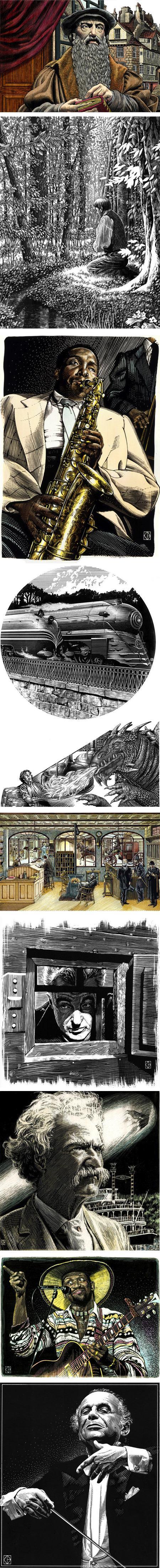 Kent Barton, illustration, scratchboard, linocut and woodcut