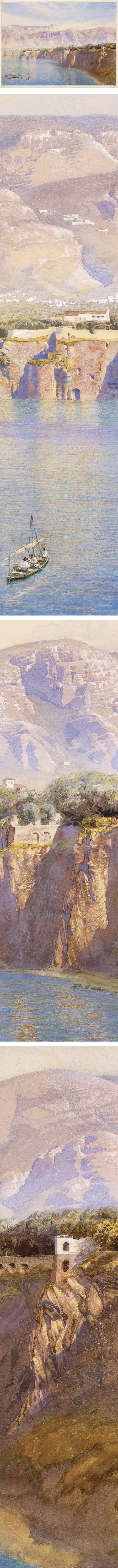 Near Sorrento, John Brett; watercolor and gouache landscape