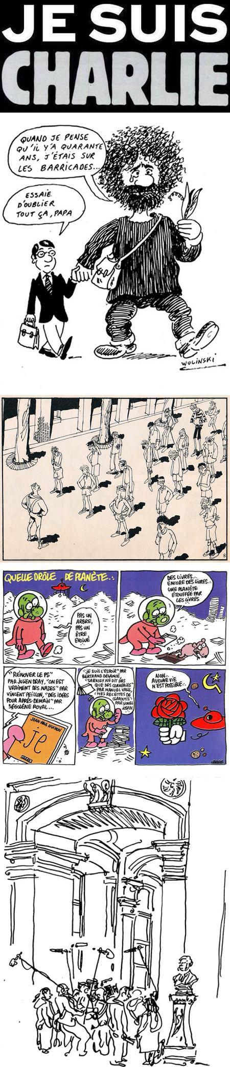Je Suis Charlie, Charlie Hebdo: Georges Wolinski, Jean Cabut, Charb (Stephane Charbonnier), Tignous (Bernard Velhac)