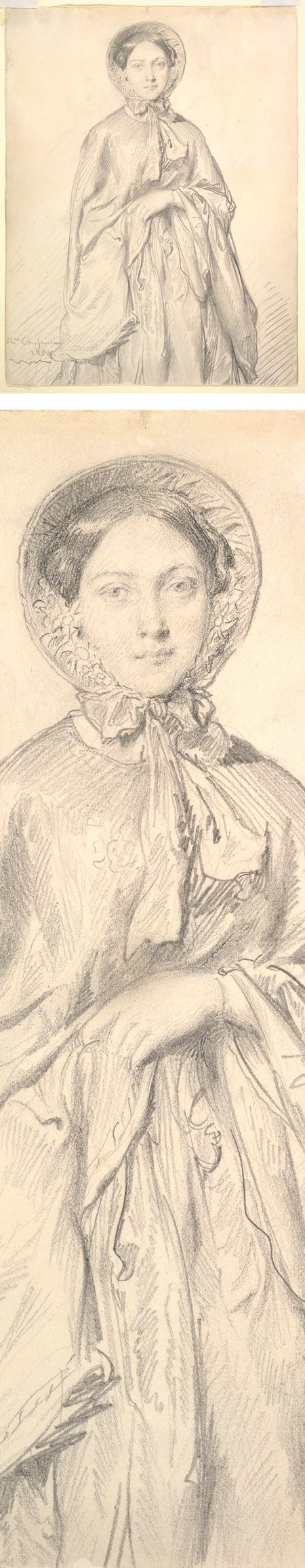Portrait of a Young Woman Wearing a Cloak and Bonnet, Theodore Chasseriau, graphite on wove paper