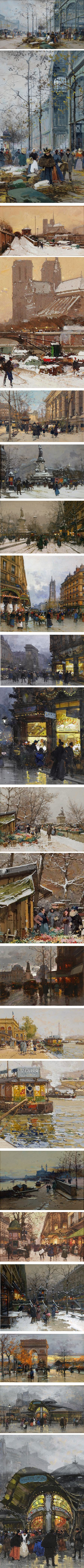 Eugene Galien Laloue, belle epoch paintings of Paris in gouache