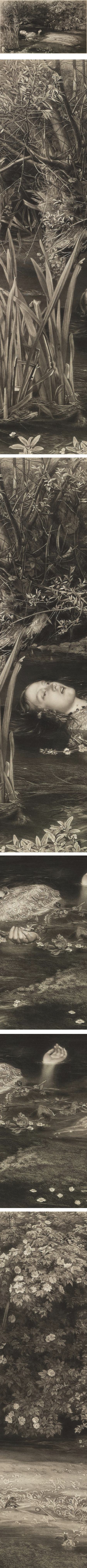 Ophelia, James Stephenson, after John Everett Millais, Mezzotint, etching and Stipple,