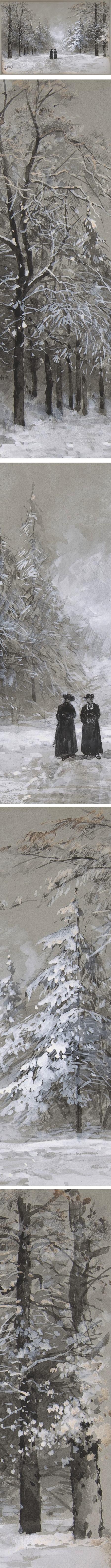 Winter Scene with Two Men, Eugene Ciceri