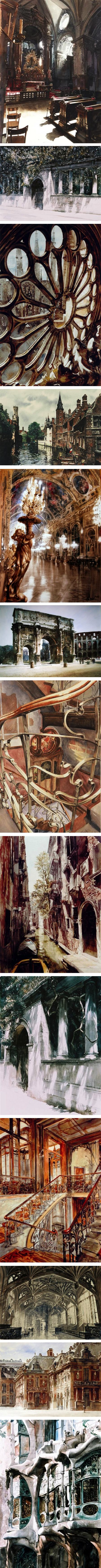 Paul Dmoch, watercolor cityscapes, landscapes, cathedral interiors