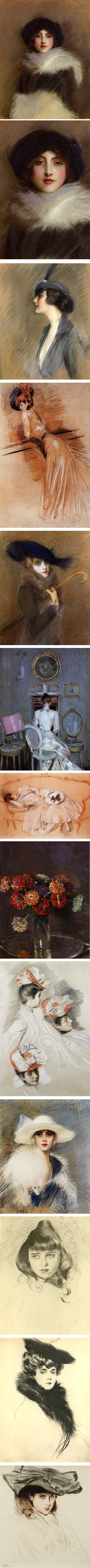 Paul Cesar Helleu, pastel society portraits, chalk, drypoint etching