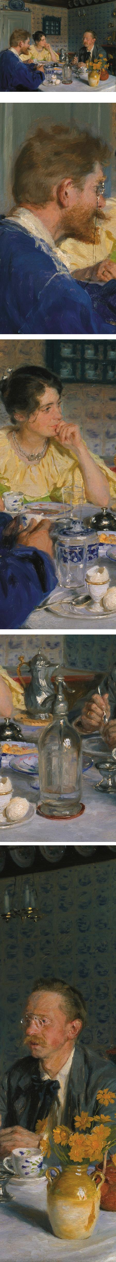 A luncheon. The artist, his wife and the writer Otto Benzon, Peder Severin Kroyer