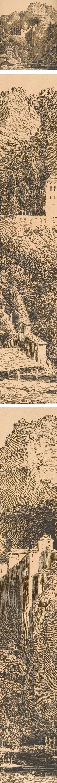 Das Schloss Prediama in Crein XII Stund: von Triest (The Castle of Predjama in Carniola, Twelve Hours from Trieste), Karl Friedrich Schinkel, pen lithograph