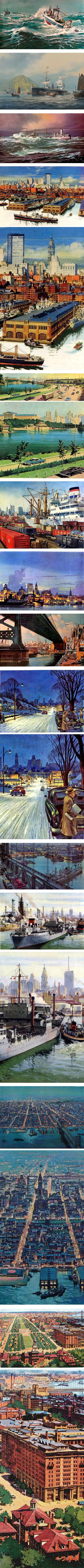 Carl G Evers, marine painting and illustrations of Philadelphia in the 1050s for Philadelphia Electric Company