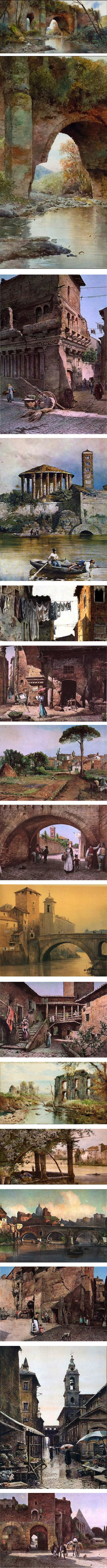 Ettore Roesler Franz, watercolors of Rome