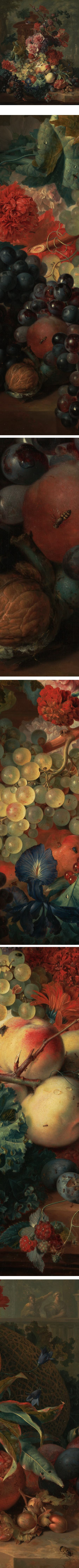 Fruit Piece, Jan van Huysu, highly detailed 18th century Dutch still life