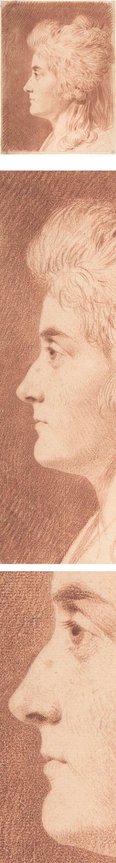 Profile Portrait of Miss Wieling, Johann Heinrich Wilhelm Tischbein, red chalk drawing