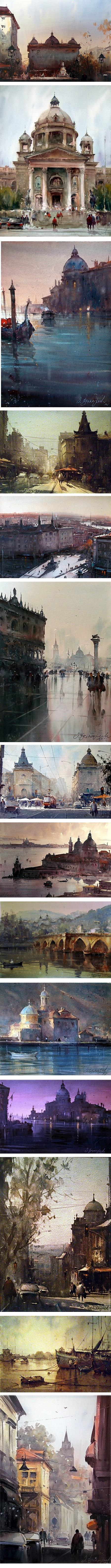 Dusan Djukaric, watercolor belgrade, Venice, Prague