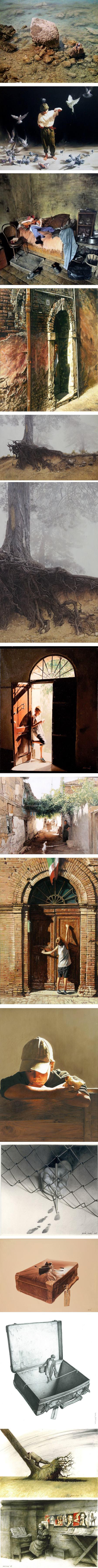 Agim Sulaj, realist paintings, editorial illustrations and cartoons