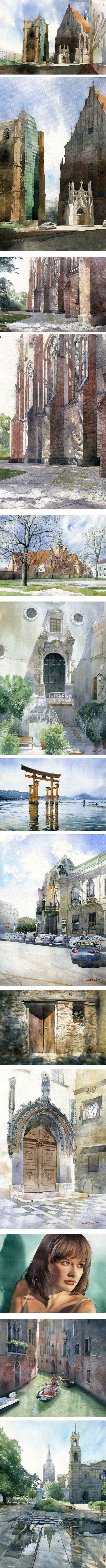 Grzegorz Wrobel, watercolor architectural rendering