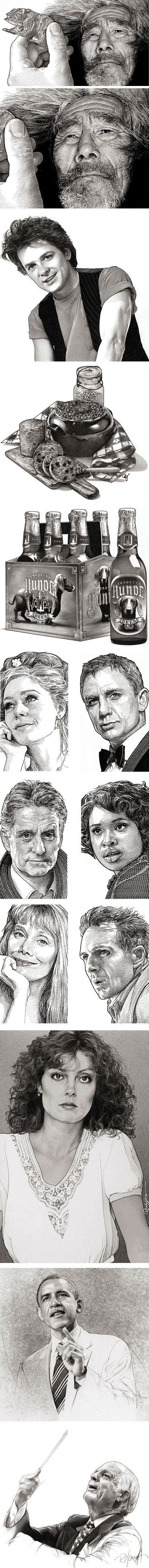Randy Glass, pen and ink, stipple, portraits, WSJ hedcuts