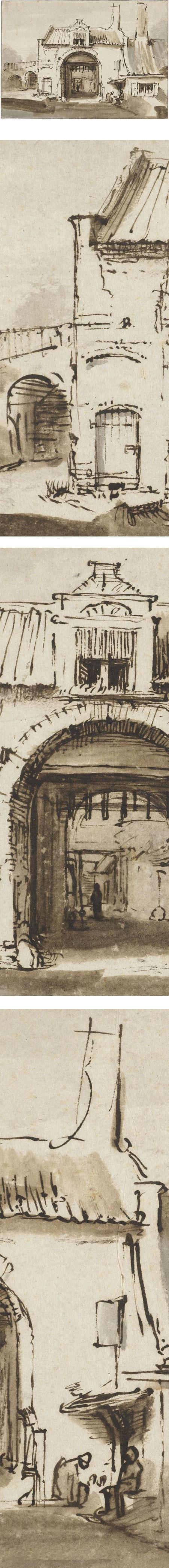 Stadspoort, Rembrandt Harmenz van Rijn, pen and wash drawing