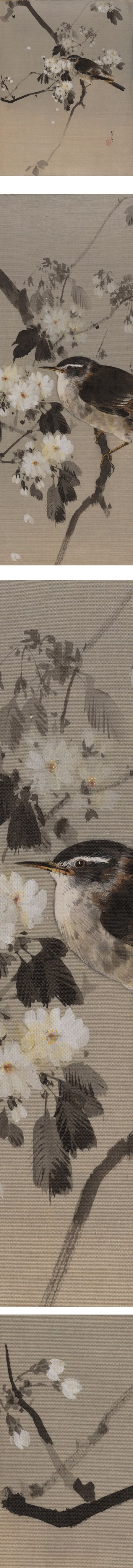 Birds of a Flowering Branch, Watanabe Seite, ink and color on silk