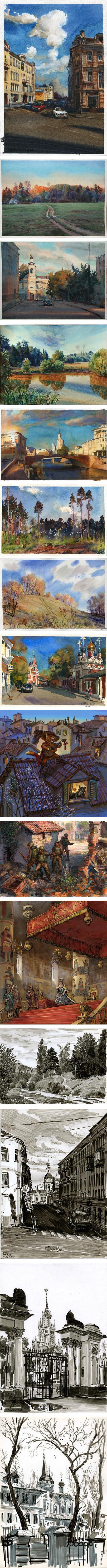 Anton Batov, watercolor and illustration