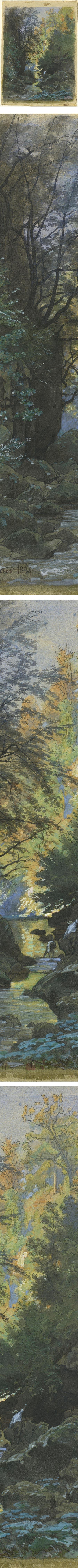 A Stream through a Dense Forest, Francois-Louis Francais, watercolor and gouache landscape